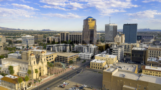 Blue Skies Aerial Perspective Downtown City Skyline Tucson Arizona