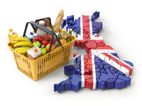 Market basket or consumer price index in UK Great Britain. Shopping basket with foods on the map of UK Great britain.