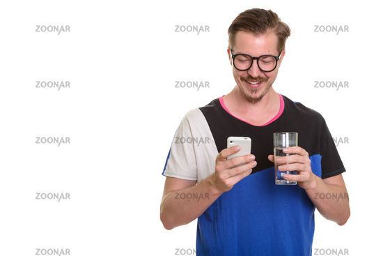 Portrait Of Man Isolated Against White Background