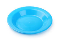 Empty blue plastic plate
