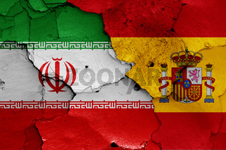 flags of Iran and Spain