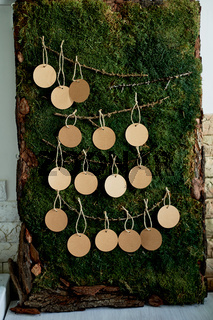 Seating plan, wedding decor in rustic style.Moss, bark, wood, crafting cards.