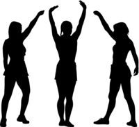 Black silhouettes women with arm raised on a white background