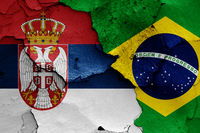 flags of Serbia and Brazil