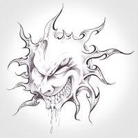 sun monster, handmade tattoo drawing