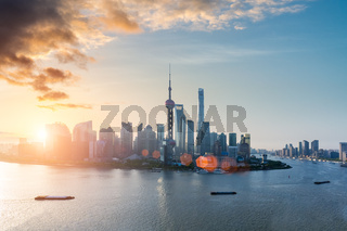 shanghai skyline with morning glow