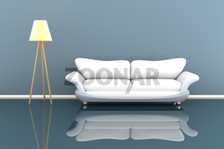 3d illustration of a lamp and a white sofa in a grey room.