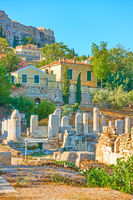 Ruins of Roman Forum  and Plaka district in Athens
