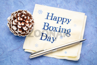 Happy Boxing Day napkin note
