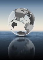 Guatemala on translucent globe above water