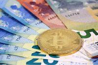 Bitcoin coin EU Euro banknotes