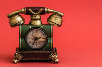 Creative Alarm Clock with Vintage Telephone  Style on Red