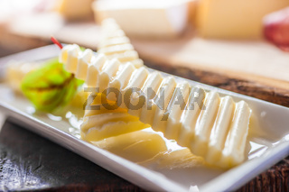 Sliced butter in a guest room on an alpine hut