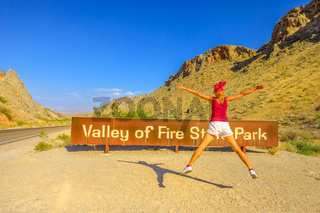 Enjoying at Valley of Fire Sign