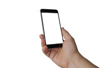 A white man holding a blank screen smartphone on white background