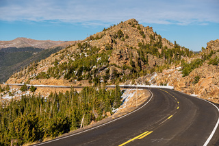 Highway in alpine tundra. Rocky Mountains, Colorado.
