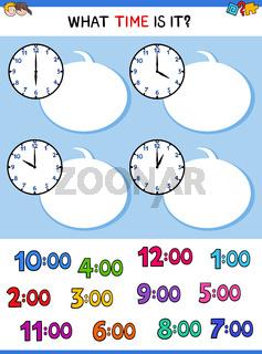 telling time clock face cartoon task