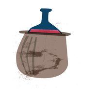 wine flask, food illustration in vintage style