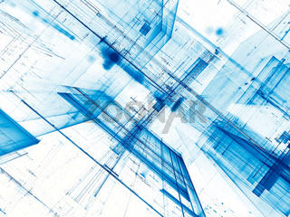 White and blue abstract  futuristic background - digitally gener