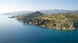 Drone View Kalekoy Castle Coast Turkey