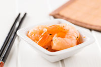 Tasty marinated shrimps.
