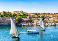 Boats on Nile in Aswan