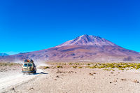 View of the dormant volcano Tunupa at the edge of the Uyuni Salt Flat in Bolivia