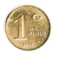 Old Turkish Coin on White Background, 1 Kurus, 2005