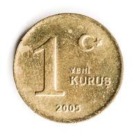 Old Turkish Coin on White Background, 1 Kurus, 2005