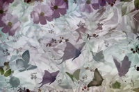 Abstract image: butterflies and flowers with leaves.