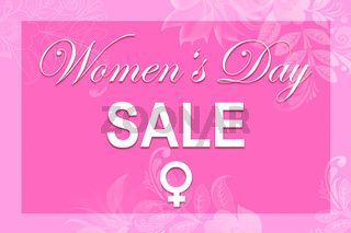Pink illustration card with text Women's Day SALE