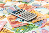 Euro currency with a digital calculator