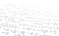 White sheet with complicated math formulas and calculations fade in perspective