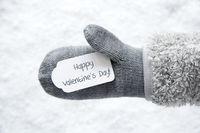Wool Glove, Label, Snow, Text Happy Valentines Day