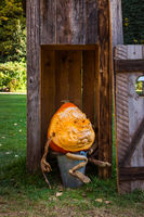 Pumpkin Scary Funny Face Expressive Comedy Halloween Holiday Outhouse Diving Board Head Seasonal Sculpture Decoration