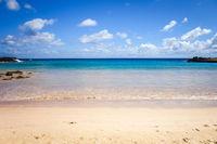 Anakena tropical beach in pacific ocean, easter island