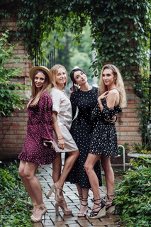 Four beautiful girls are photographed