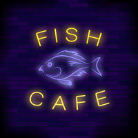 Colorful Neon Fish Cafe Sign