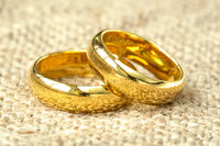 Wedding rings on old fabric