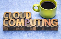 cloud computing word abstract in wood type