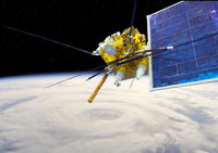 Modern meteorological satellite at the Earth orbit