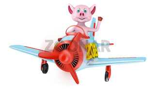 Piglet in airplane 2019
