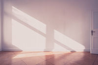 sunlight on apartment wall - empty room old photo style -