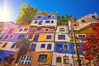 Colorful Hundertwasserhaus architecture of Vienna view