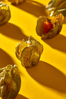 Close-up view of yellow ripe, juicy physalis fruit with shadows on a yellow background, soft focus.
