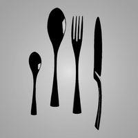 Black cutlery flat lay.