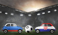 Russia and Croatia cars on football stadium