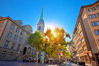Colorful street of Zurich sun haze view