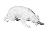 statue of a wild cat on a white background