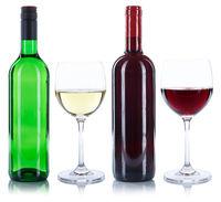Weinflaschen Weingläser Wein Flaschen Gläser Rotwein Weißwein Weisswein Alkohol freigestellt Freisteller
